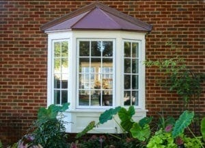 Bay window in a brick house